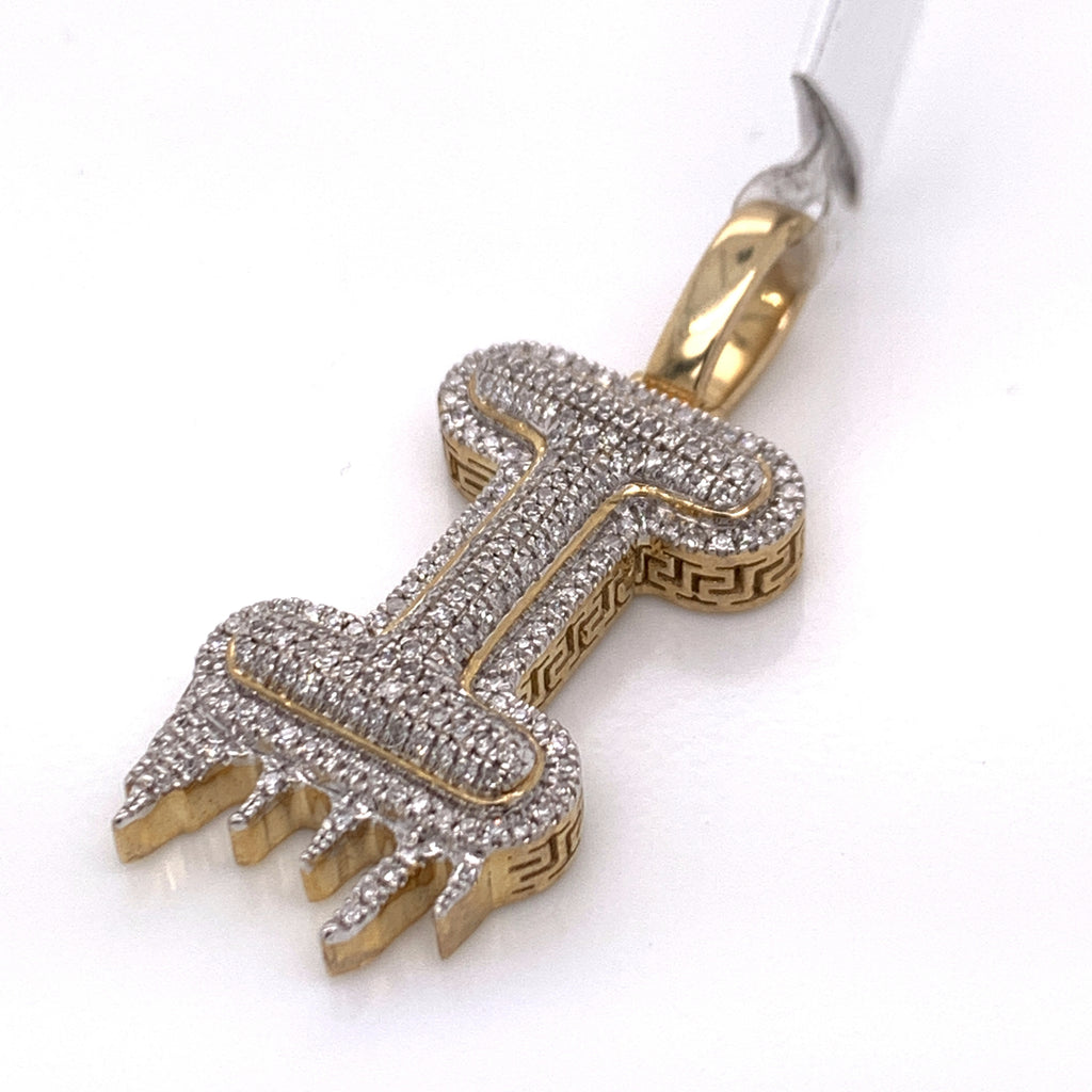 "0.34 CT. Diamond Letter ""I"" Drip Pendant in 10K Gold - White Carat Diamonds"