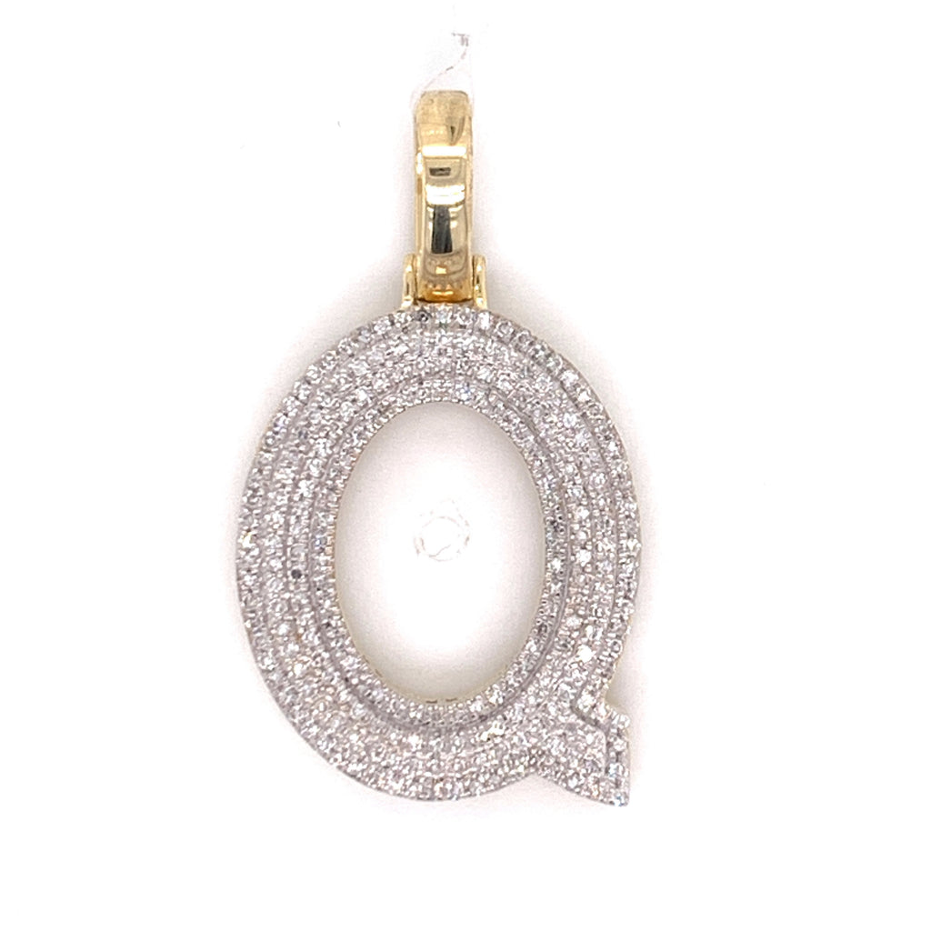 "0.38 CT. Diamond Letter ""Q"" Pendant in 10K Gold - White Carat Diamonds"