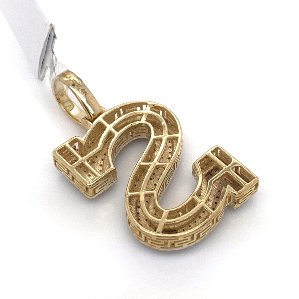 "0.45 CT. Diamond Letter ""S"" Pendant in 10K Gold - White Carat Diamonds"