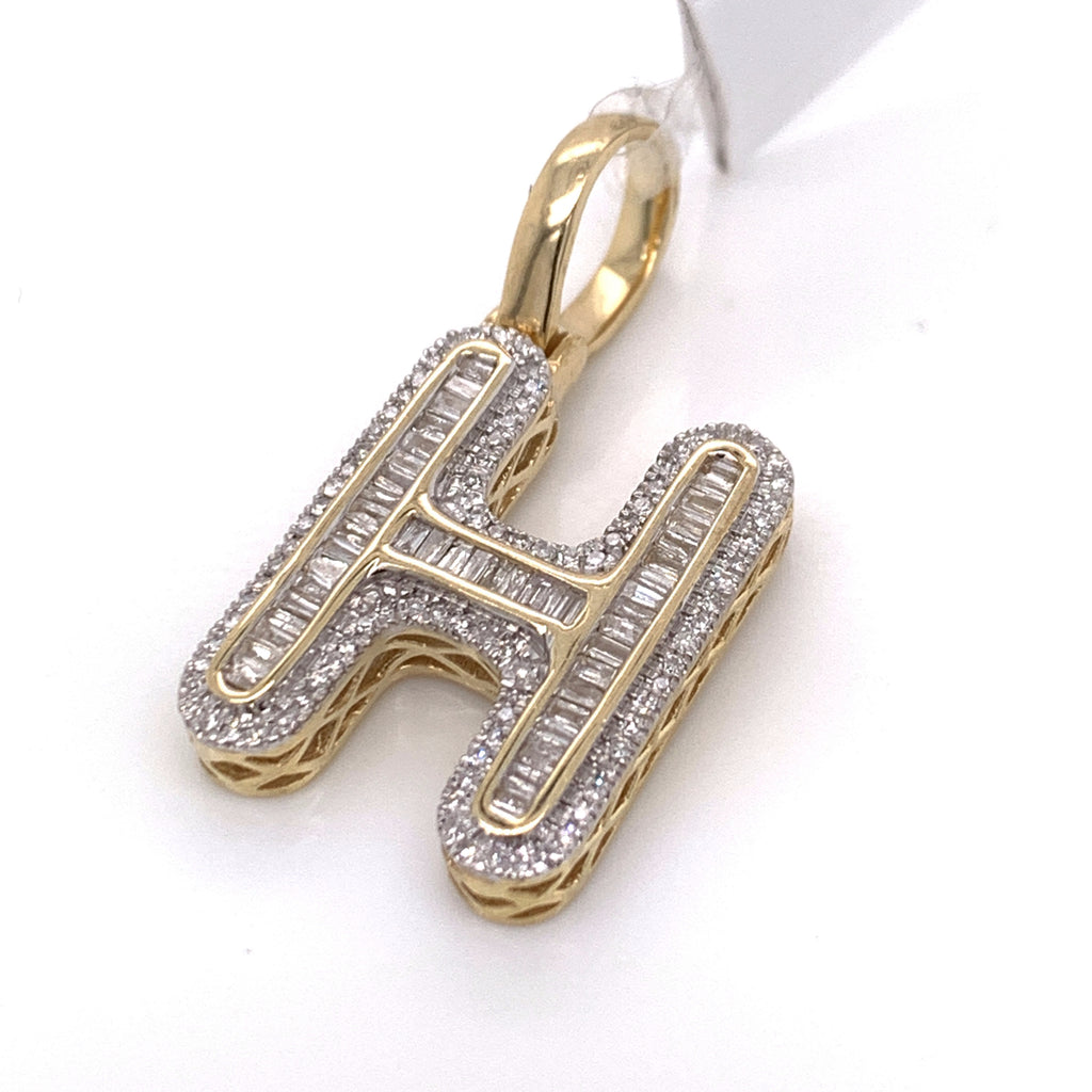 "0.50 CT. Diamond Letter ""H"" Pendant in 10K Gold - White Carat Diamonds"