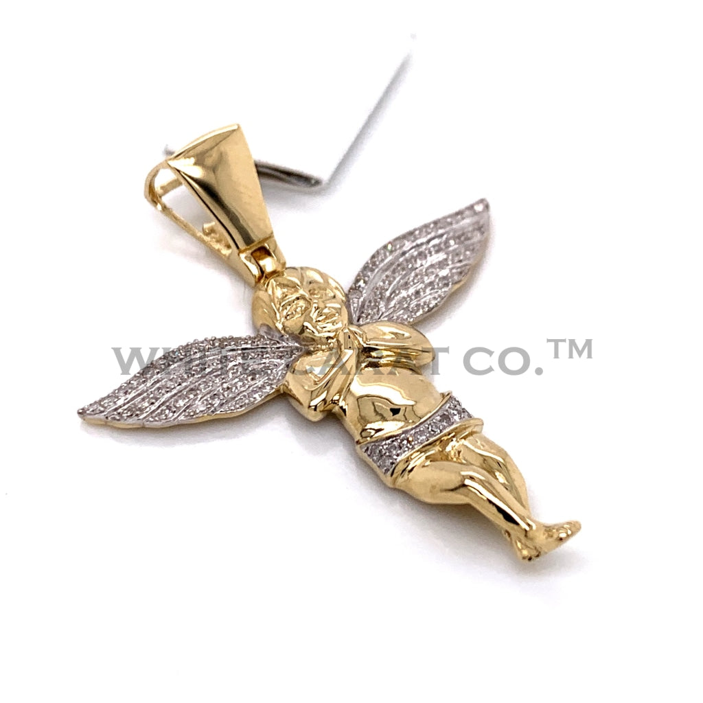 0.32 CT. Diamond Baby Angel Pendant in 10KT Gold - White Carat Diamonds