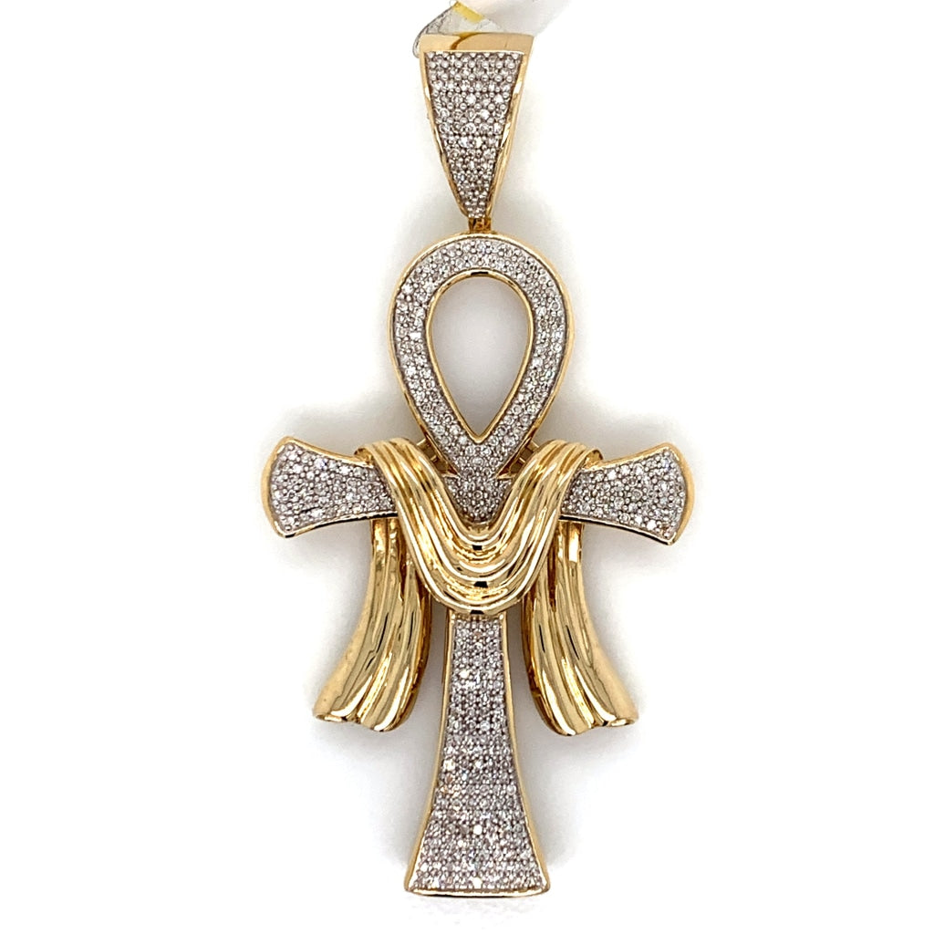 0.80CT Diamond 10K Yellow Gold Pendant - White Carat Diamonds