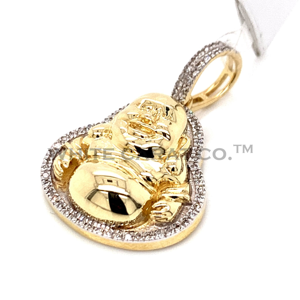 0.17 CT. Diamond Gold Buddha Pendant in 10KT Gold - White Carat Diamonds