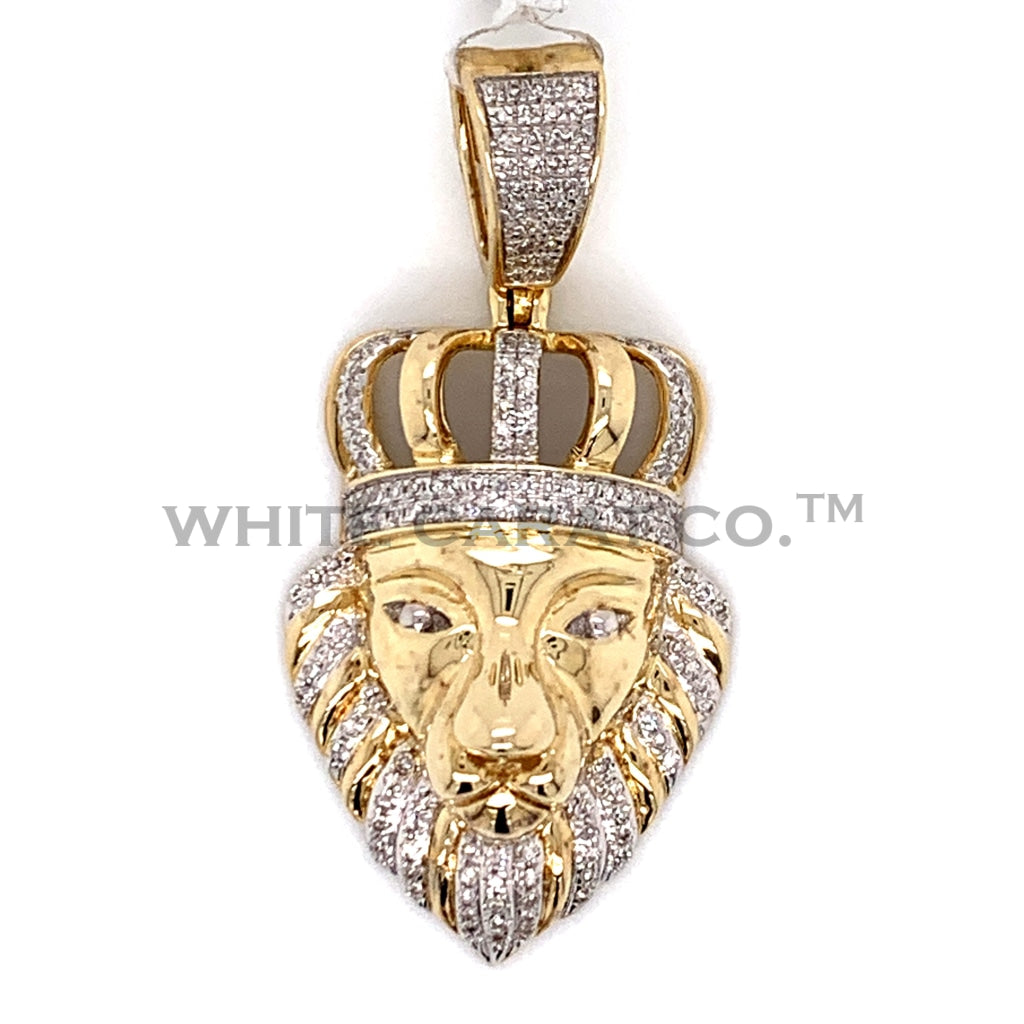 0.42 CT. Diamond Crowned Lion Pendant in 10KT Gold - White Carat Diamonds