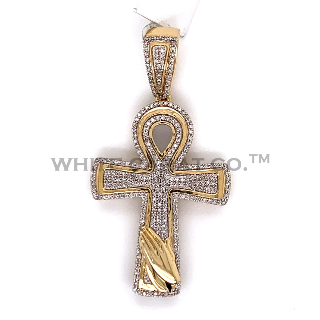 0.65 CT. Diamond Cross With Prayer Hands Pendant in 10KT Gold - White Carat Diamonds