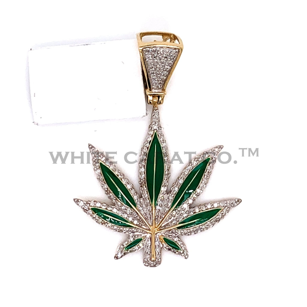 0.57 CT. Diamond Leaf Pendant in 10KT Gold - White Carat Diamonds