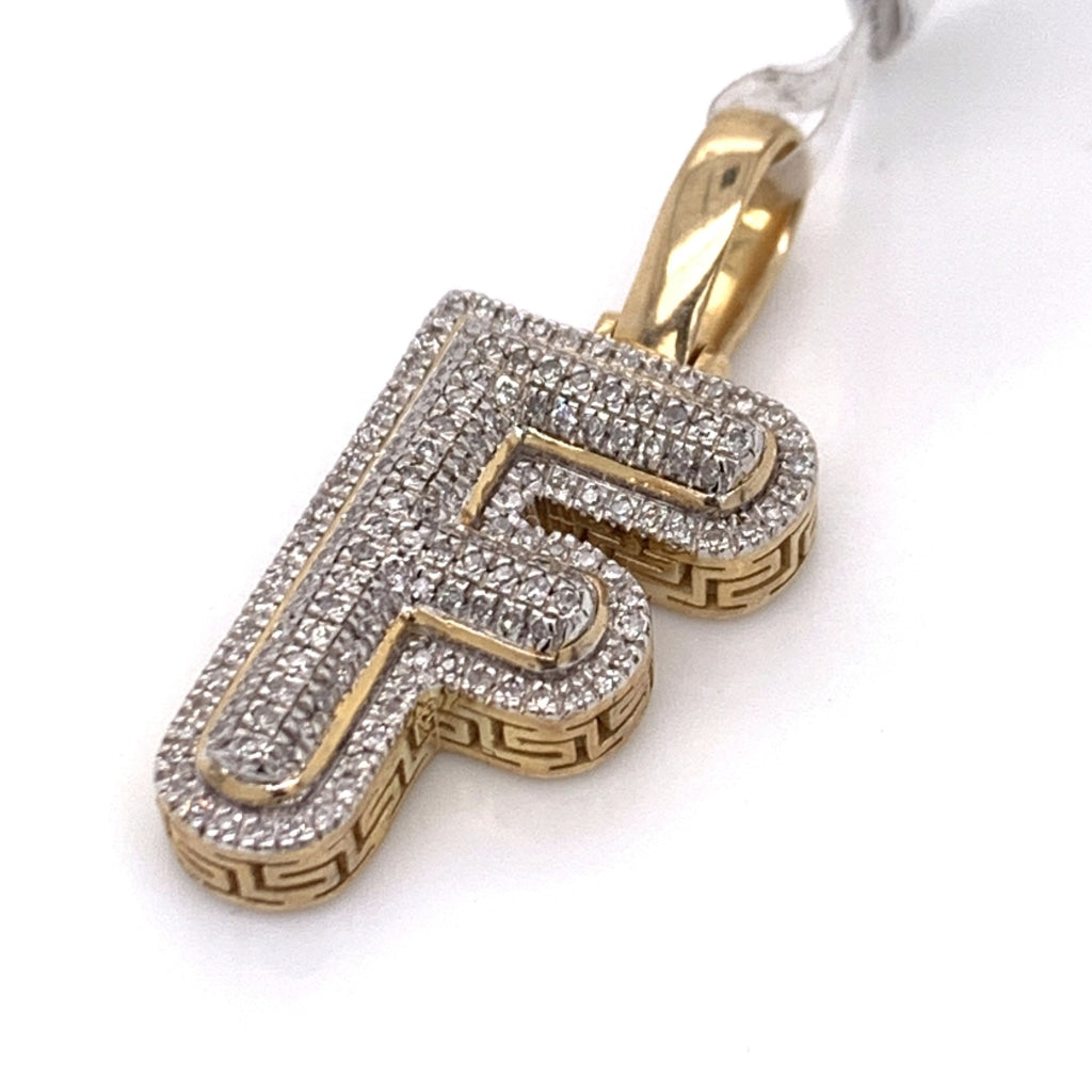 "0.26 CT. Diamond Letter ""F"" Pendant in 10K Gold - White Carat Diamonds"