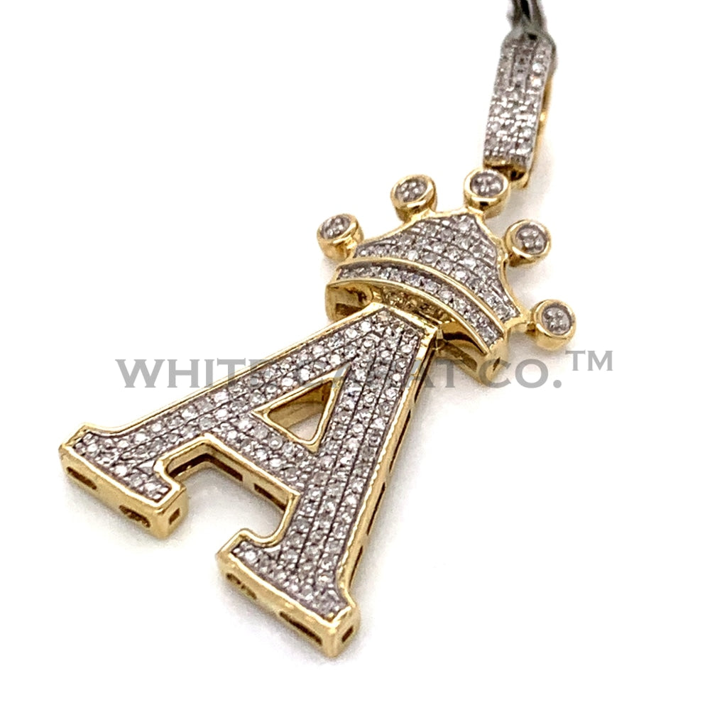 "0.35 CT. Diamond Initial ""A"" Pendant in 10KT Gold - White Carat Diamonds"