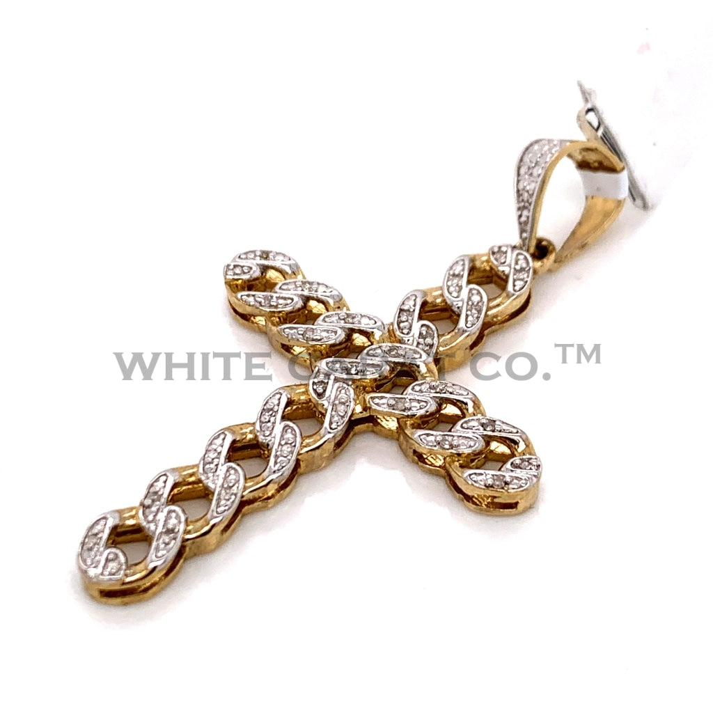 0.50 CT. Diamond Cross Pendant in 10KT Gold - White Carat Diamonds