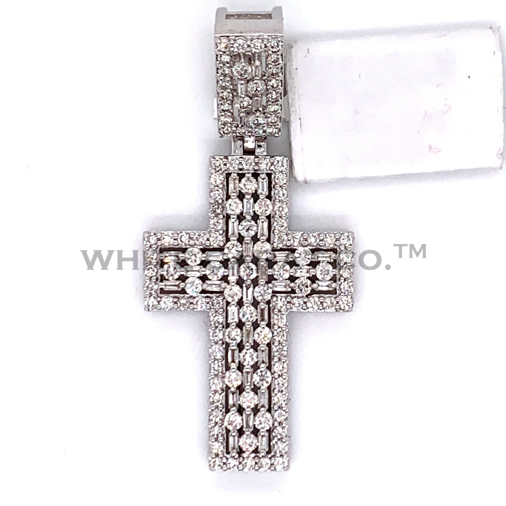 1.60 CT. Diamond Cross Pendant in 14KT White Gold - White Carat Diamonds