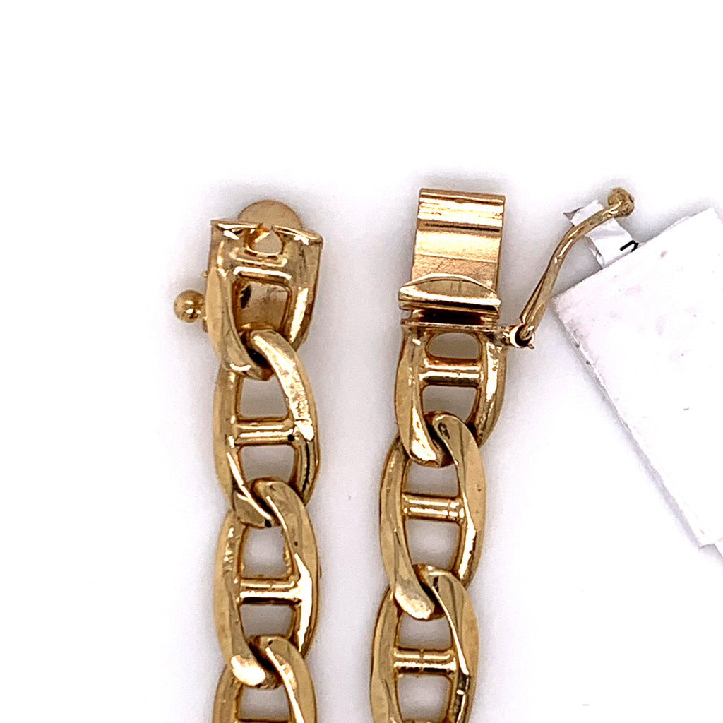 10K Gold Flat Mariner Link Bracelet (Solid) - 8MM - White Carat Diamonds