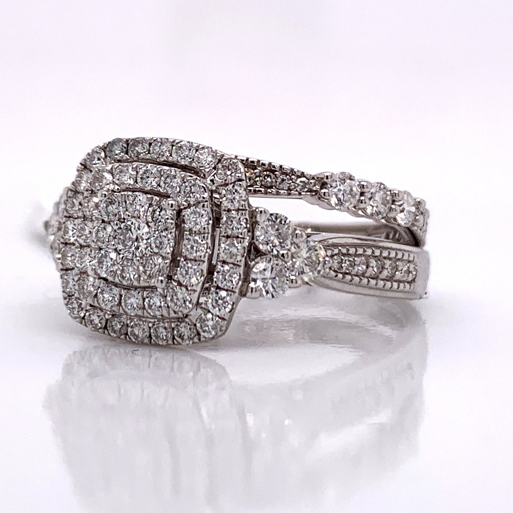 0.50 CT. Diamond Wedding Ring Set in 14K White Gold - White Carat Diamonds
