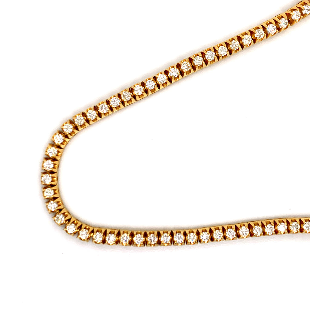 13.05 CT. Diamond Raised Prong Tennis Chain in 14KT Gold - White Carat Diamonds