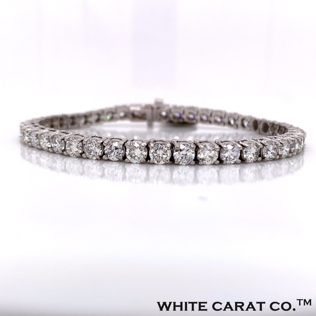 13.60 CT. Diamond Tennis Bracelet in 10K White Gold - White Carat Diamonds