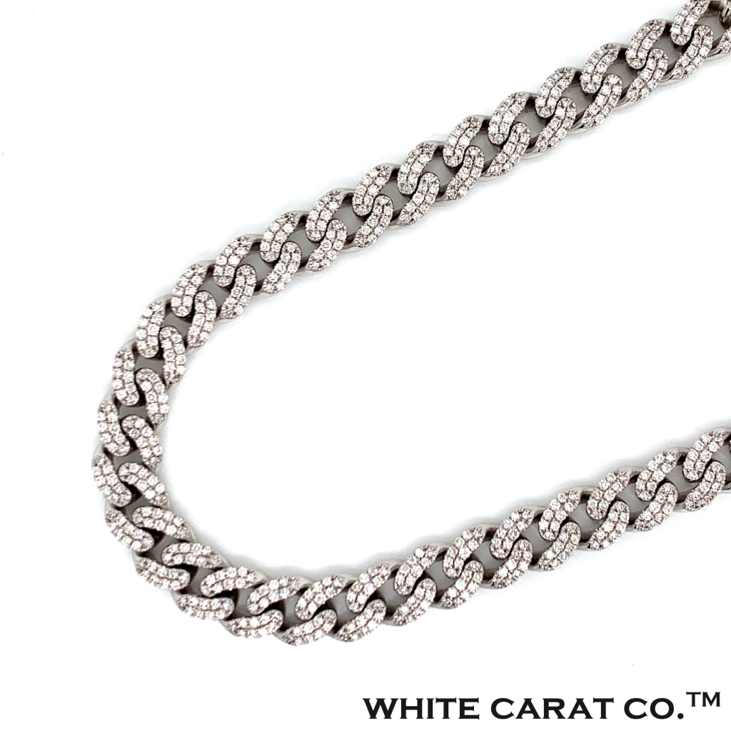 13.60 CT. Diamond Miami Cuban Chain in 14KT Gold - White Carat Diamonds