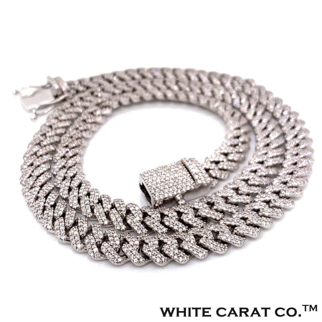 28CT. - 45.00CT. Diamond Claw Cuban Chain in 14KT Gold - 15MM - White Carat Diamonds