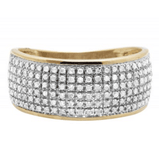0.60 CT. Puff Pavé Diamond Wedding Engagement Band in 10K Yellow Gold - White Carat - USA & Canada