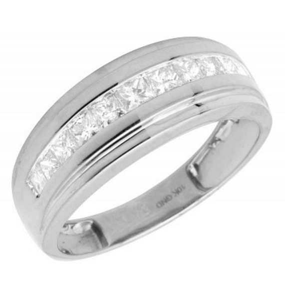 1.0 CT. One Channel Princess Cut Diamond Wedding Band in 10K White Gold - White Carat Diamonds