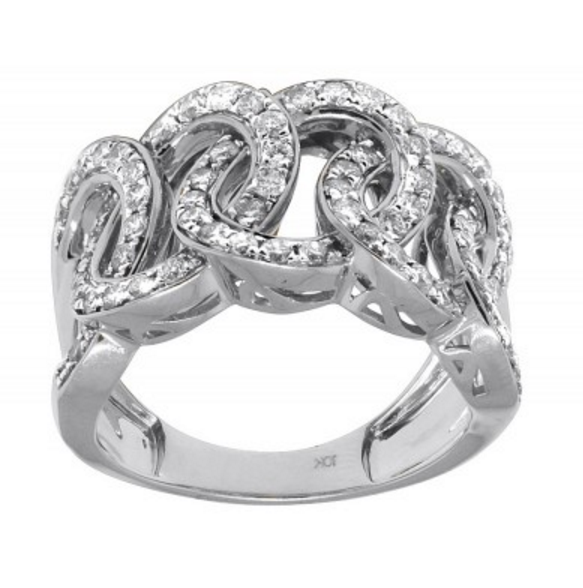 1.75 CT. Circle Link Diamond Ring in 10K White Gold - White Carat Diamonds