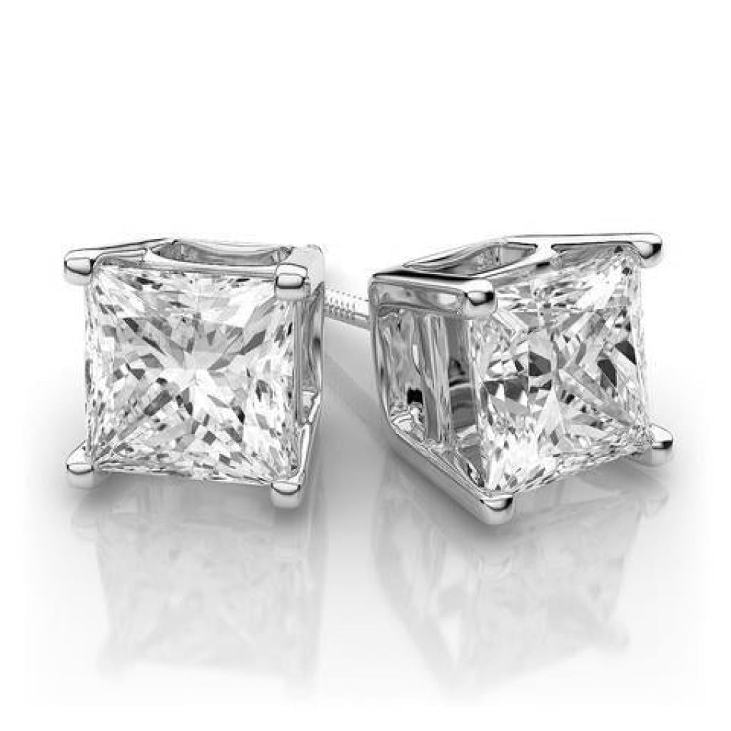 0.25 CT. - 1.00 CT. Princess Diamond Studs in Yellow Gold - White Carat - USA & Canada