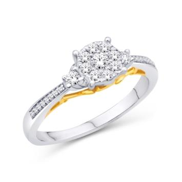 10KT-0.25CTW FLOWER LADIESRING - White Carat Diamonds