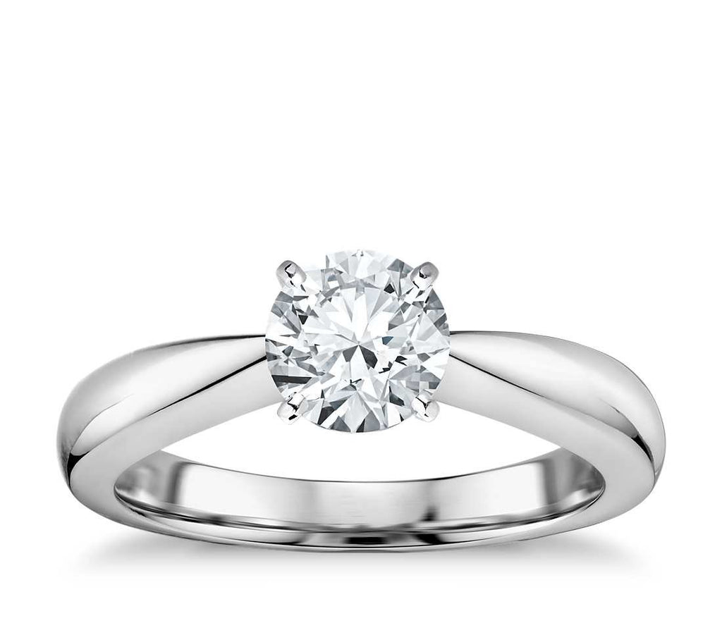 1.00 CT. Classic Tapered Four Claw Engagement Ring in White Gold - White Carat Diamonds