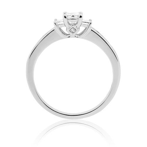 0.5 CT. Three Stone Princess Cut Diamond Engagement Ring in 14K White Gold - White Carat Diamonds
