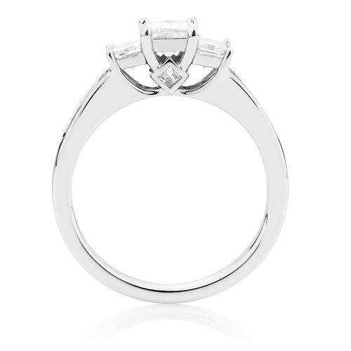1.00 CT. Three Stone Princess Cut Diamond Engagement Ring in 14K White Gold - White Carat - USA & Canada