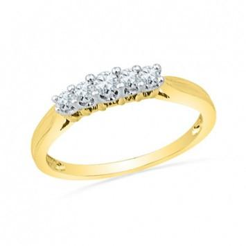 0.50 CT. Diamond Five Stone Wedding Band in Yellow Gold - White Carat Diamonds