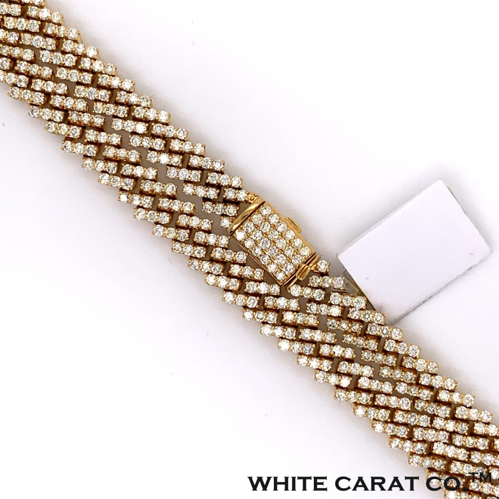 16.30 CT. Diamond Claw Cuban Gold Chain (22 Inches) in 10K - White Carat Diamonds