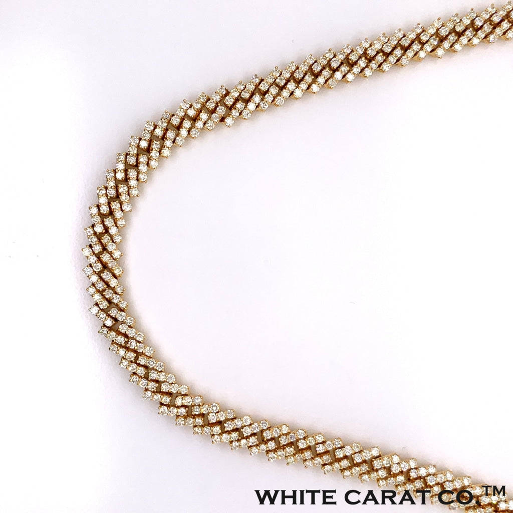 18.50 CT. Diamond Claw Miami Cuban Gold Chain (24 Inches) in 10K - White Carat Diamonds