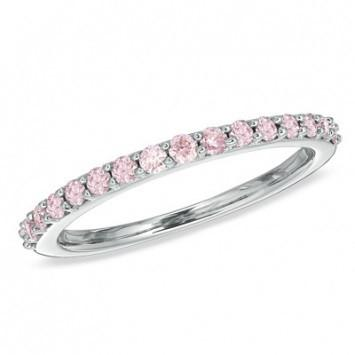 0.66 CT. Light Pink Diamond Wedding Band in White Gold - White Carat - USA & Canada