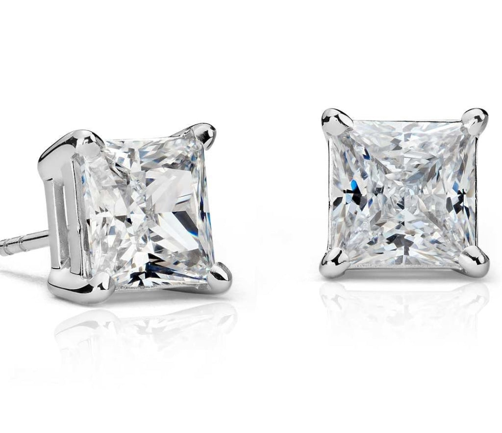 1.00 CT. Princess Diamond Studs in Gold or Platinum - White Carat Diamonds