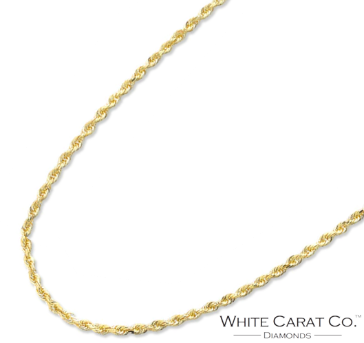 10K Gold Rope Chain (HOLLOW) - 2.0 mm - White Carat Diamonds