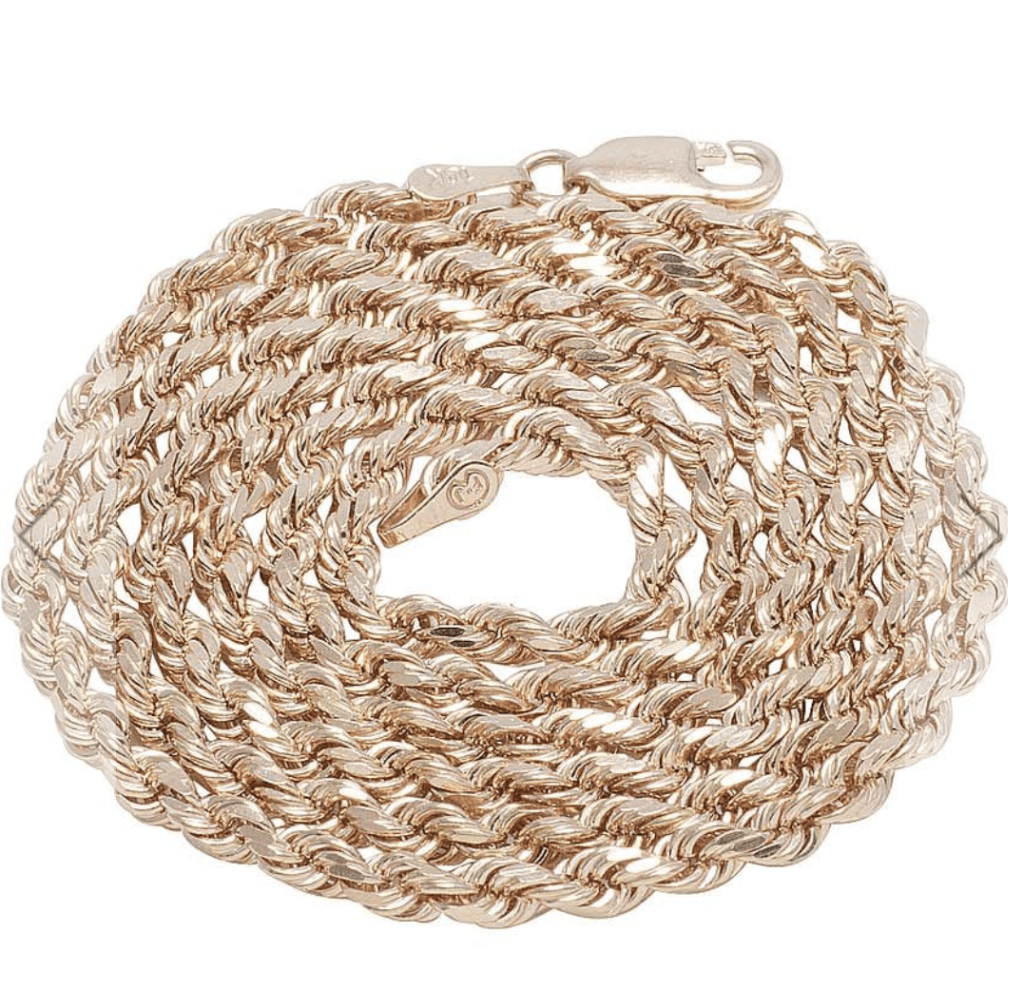 10K Solid Rose Gold Rope Chain - 5.0 mm - SHIPS OVERNIGHT - White Carat Diamonds
