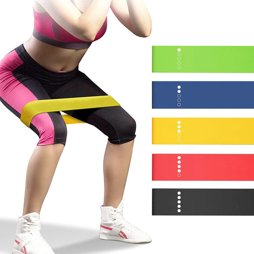 Yoga Resistance Bands 5 Colors Resistance Loop Stretching Pilates Fitness Equipment Gym Home Sport Training Workout (5lb- 25lb)