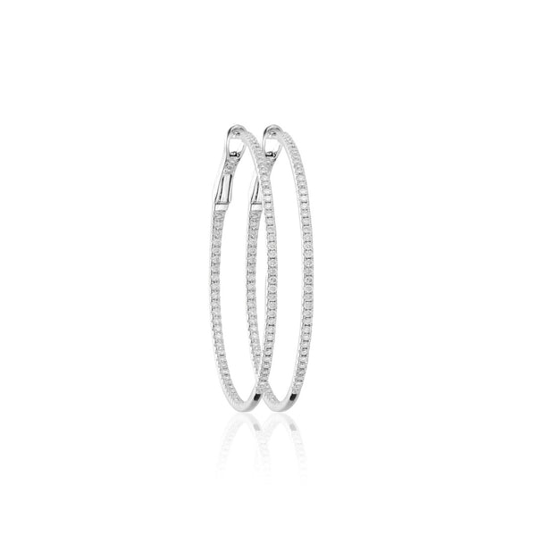 DIAMOND HOOPS 18K WHITE GOLD M