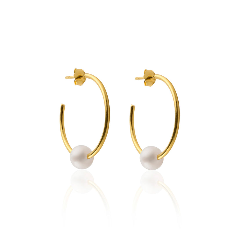 PEARL HOOPS EARRINGS