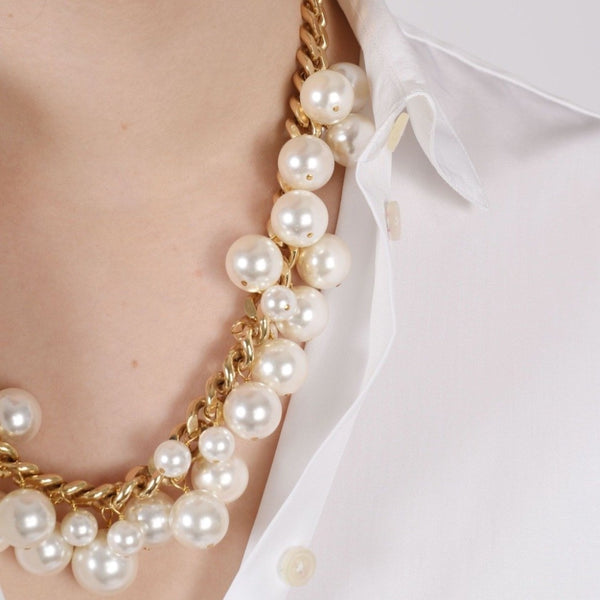 Gold plated brass with white pearl