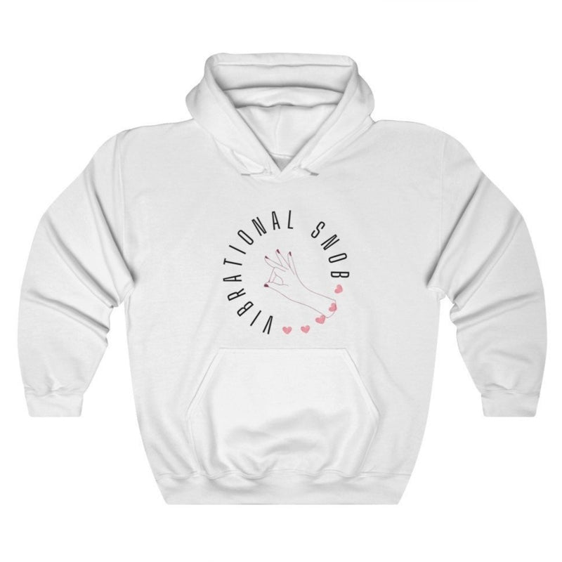 A white hoodie with a quote Vibrational Snob