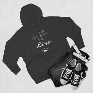Outfit set with black jeans, black shoes, and grey hoodie with a quote I am meant shine