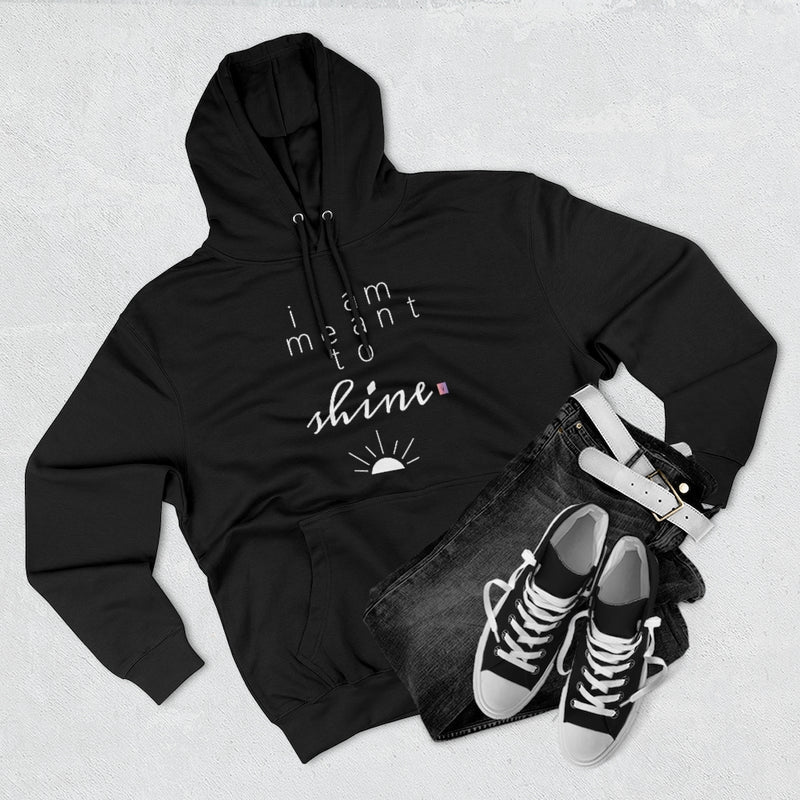 Outfit set with black jeans, black shoes, and black hoodie with a quote I am meant shine