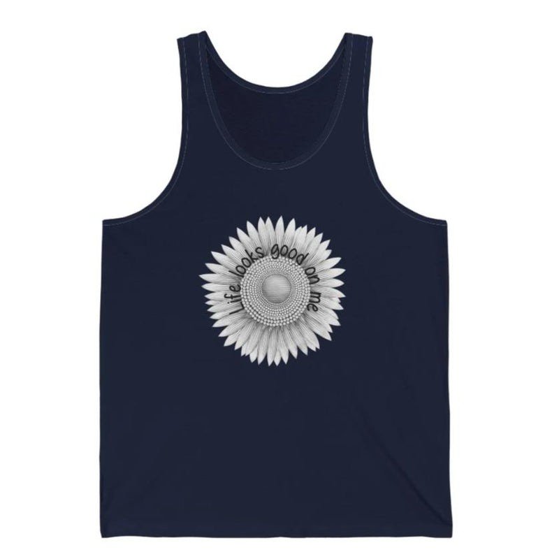 A navy tank top with a sunflower design and quote Life looks good on me