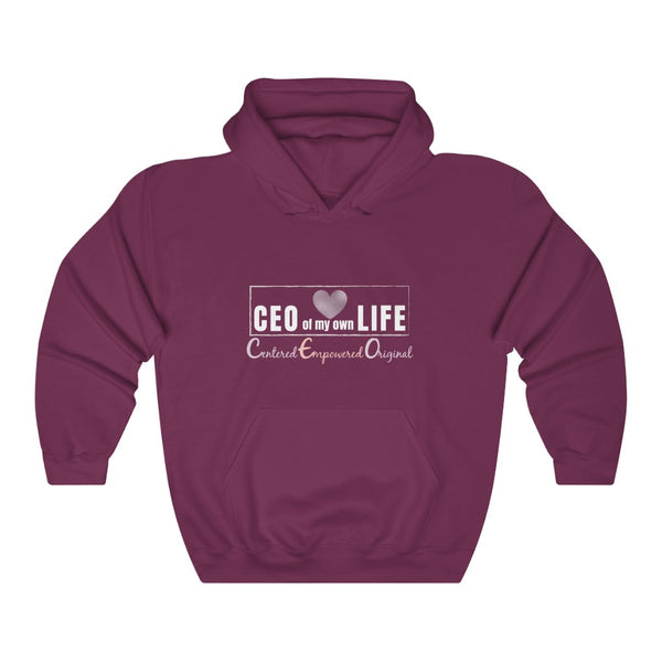 A burgundy hoodie with a quote CEO Centered Empowered Original