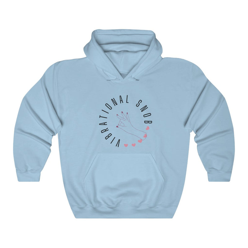 A sky blue hoodie with a quote Vibrational Snob