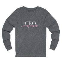 Load image into Gallery viewer, Women's grey  long sleeve t-shirt with a quote CEO of My Own Life