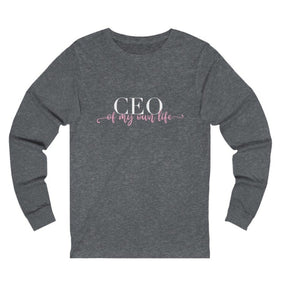 Women's grey  long sleeve t-shirt with a quote CEO of My Own Life