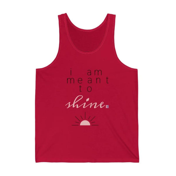 Women's red tank top with a quote I am meant to shine