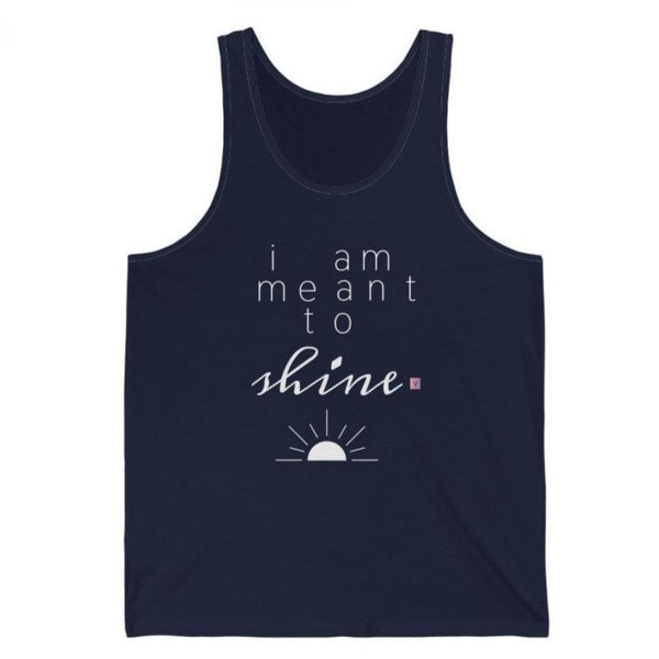 Woman's dark navy tank top with a quote I am meant to shine