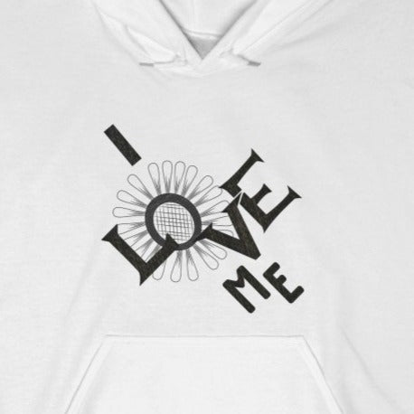 A white hoodie with a quote I Love Me